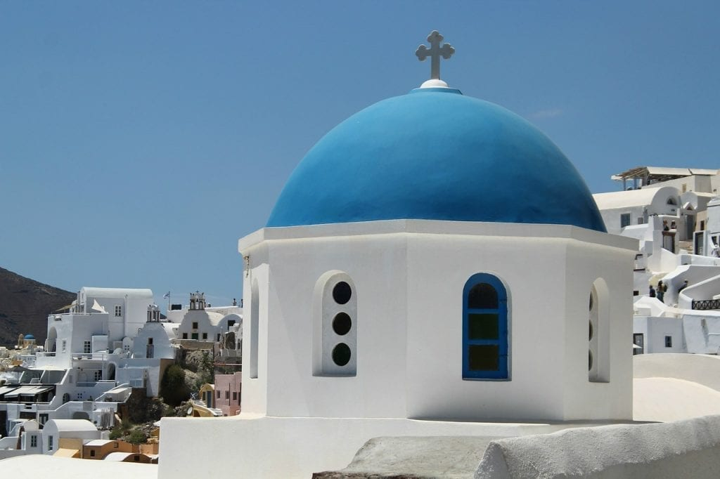 One of the famous blue domed churches in Santorini