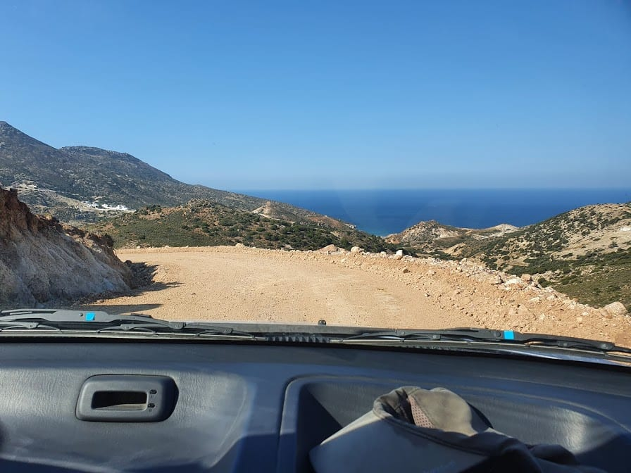 Driving in Milos island greece