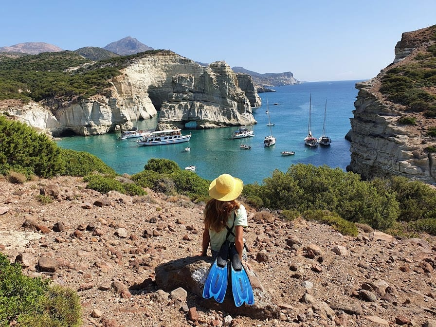 Looking out over Kleftiko bay in Milos greece