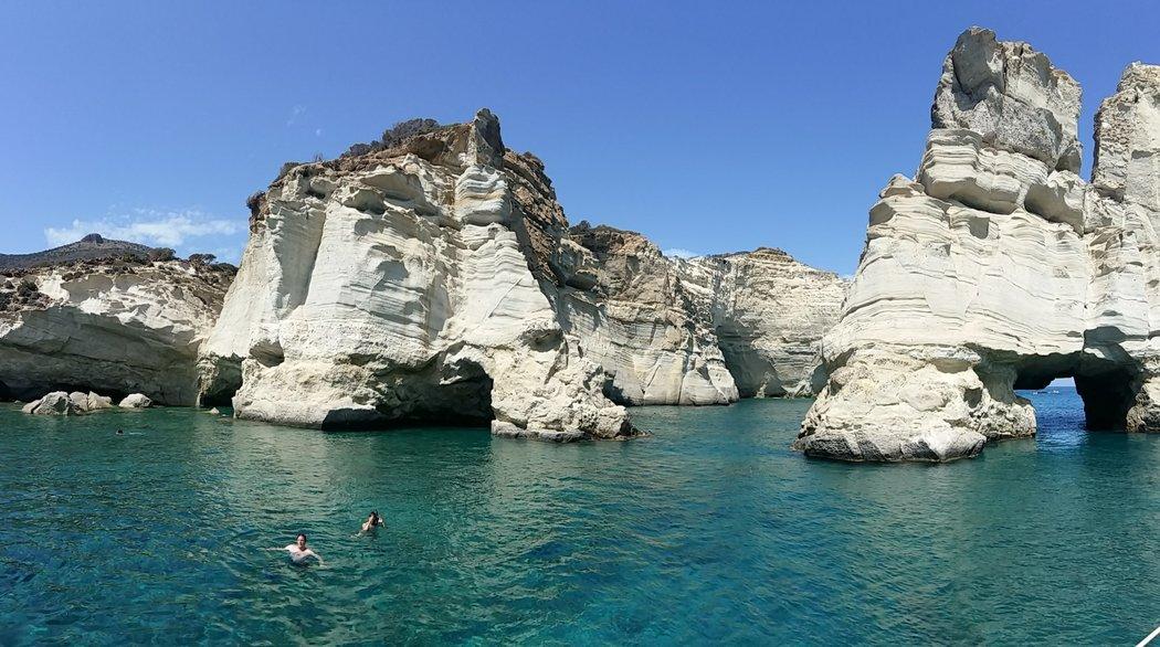 Swimming at Kleftiko beach, Milos