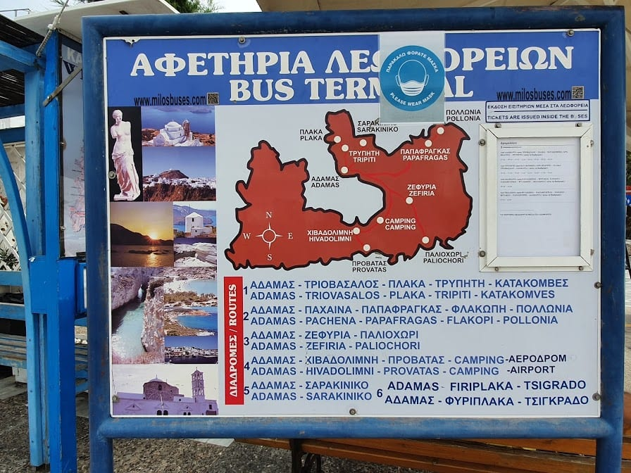 The Milos bus service that can take you to some beaches