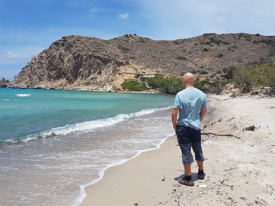 Dave from Dave's Travel Pages at Plathiena Beach in Milos Greece