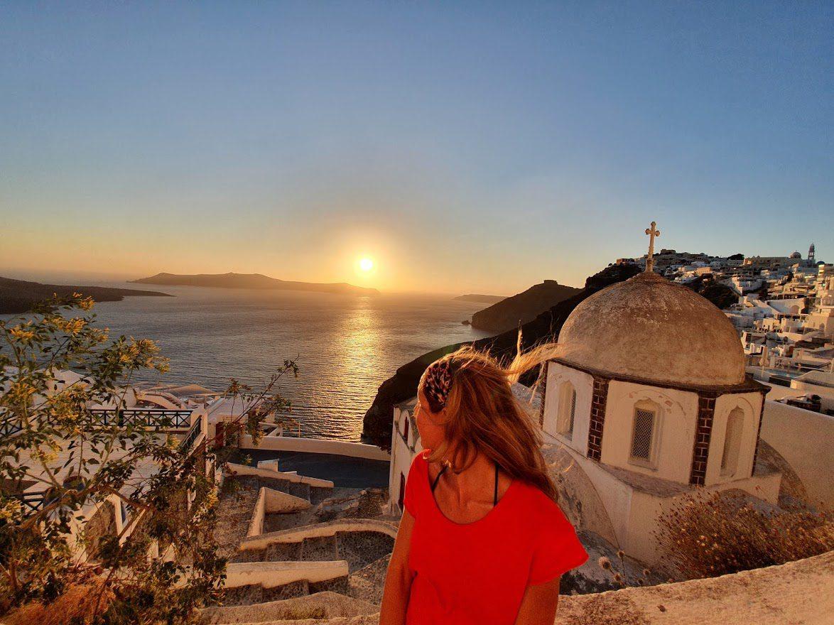 Enjoying the Santorini sunset