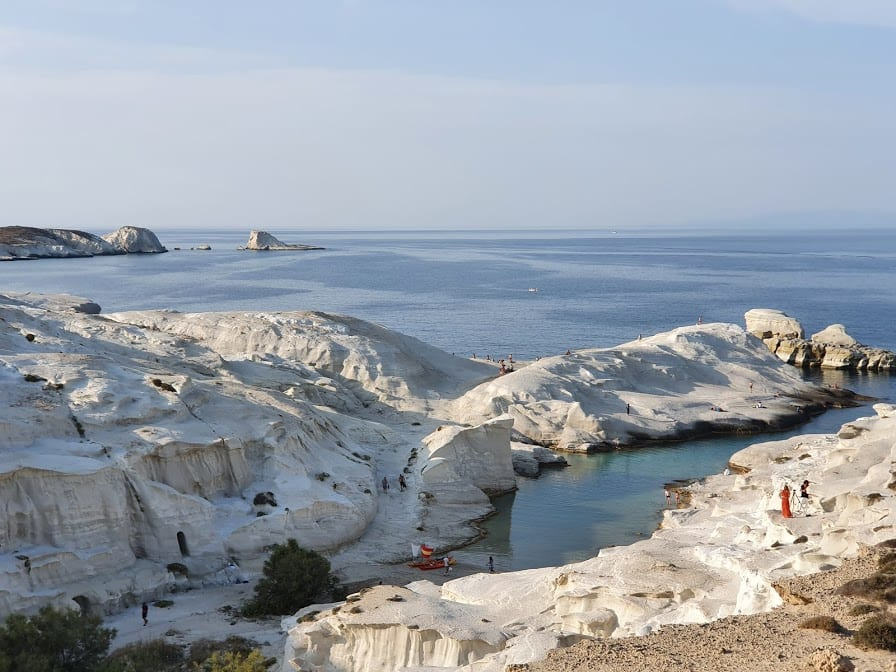 A photo of Sarakiniko beach in the afternoon