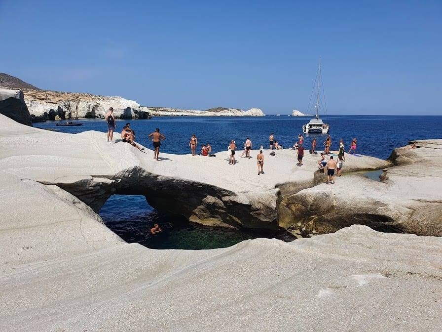 A view of the famous Sarakiniko beach in Milos