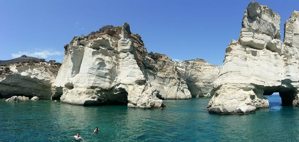 Swimming at Kleftiko beach, Milos
