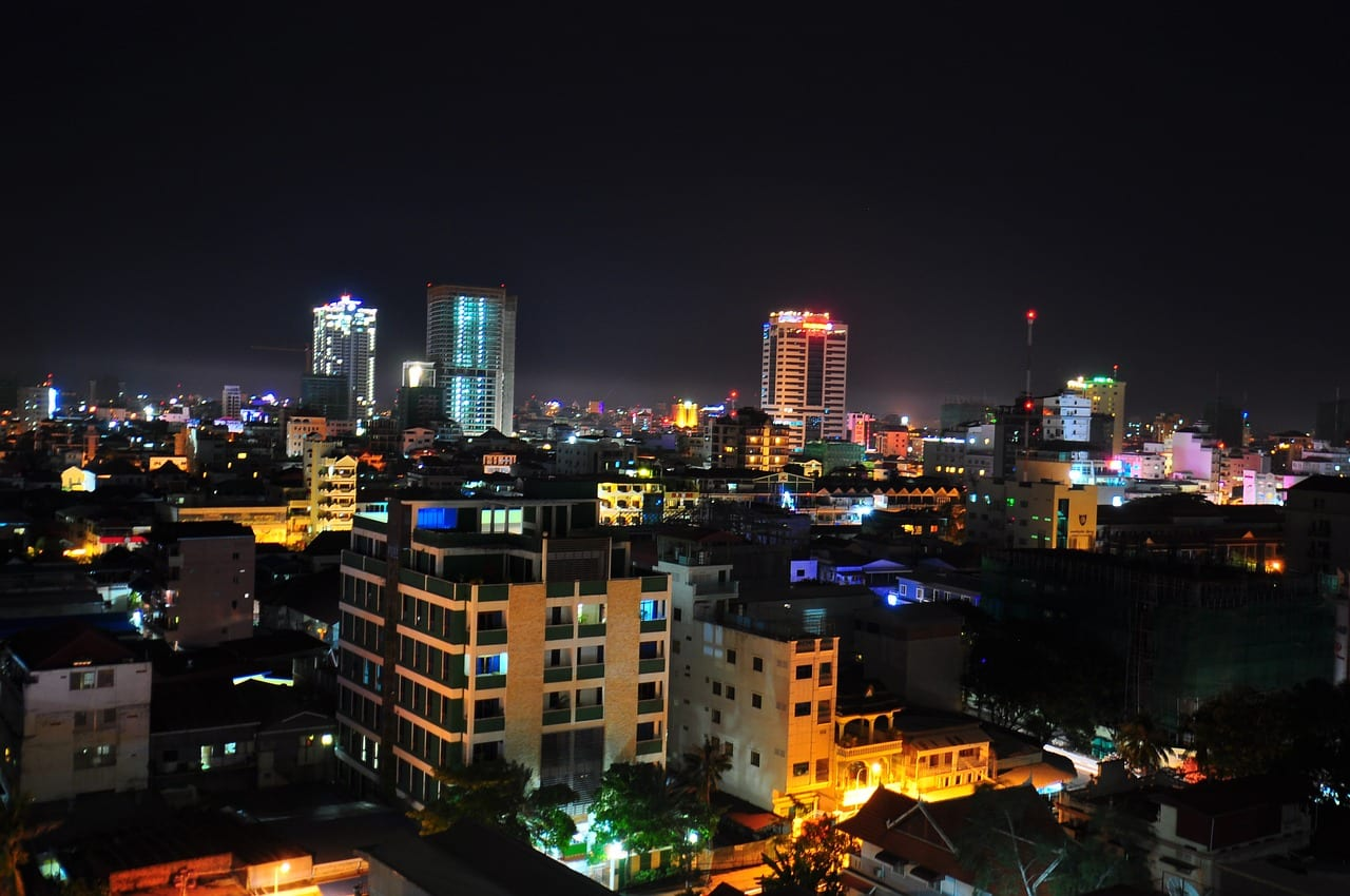 The city night sky of Phnom Penh, Cambodia