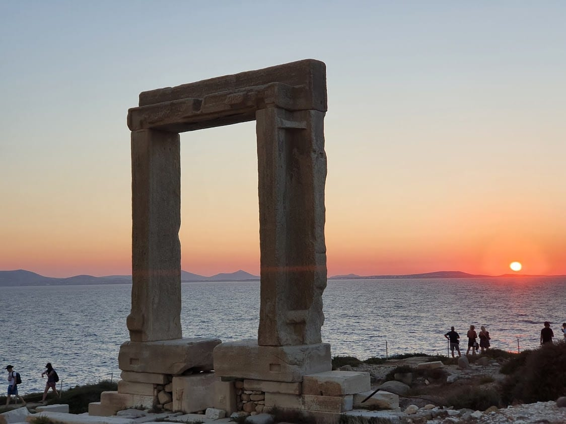 Portara at Naxos in Greece at sunset