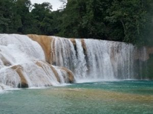 Stopping at Agua Azul in Mexico during my bicycle touring journey