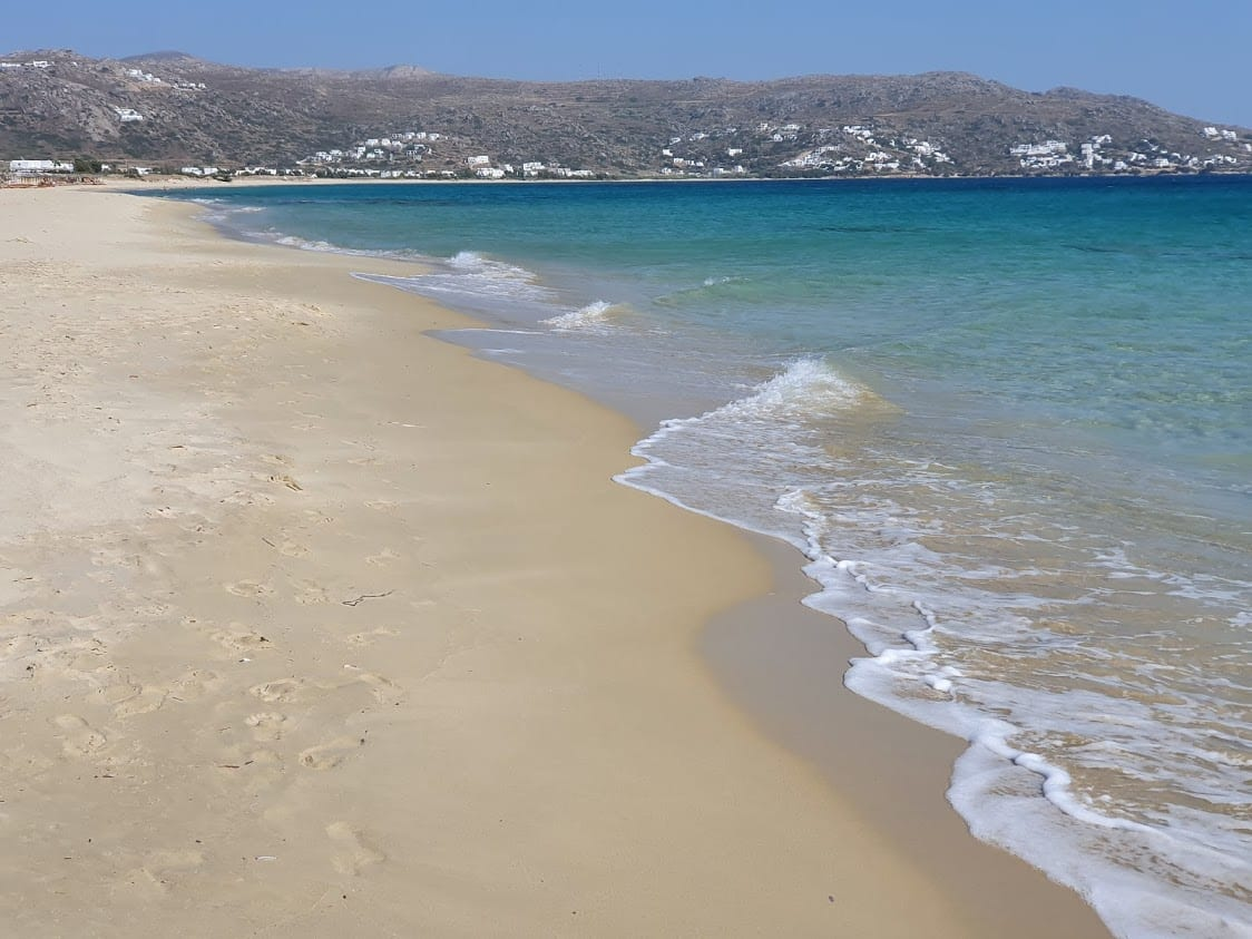 Enjoying great weather on a beach in Naxos Greece