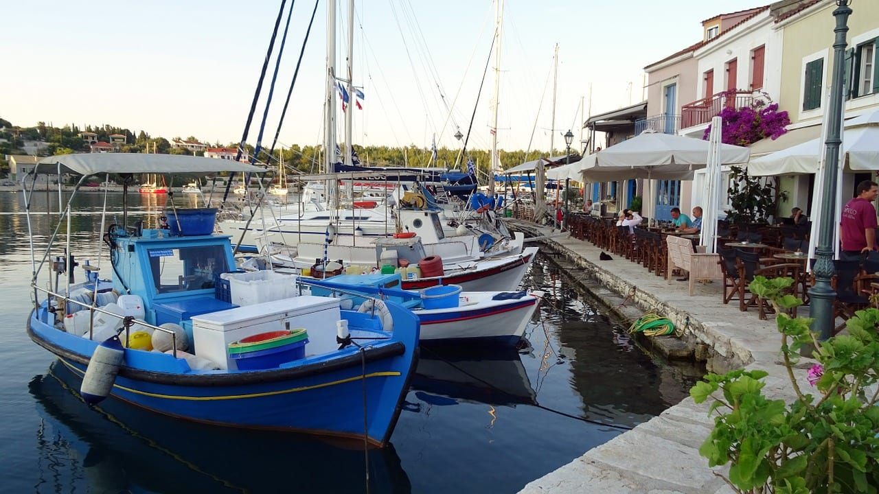 Small fishing boats at Fiskardo village in Kefalonia