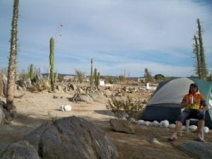 Chilling at a campsite in Mexico after a day's cycling