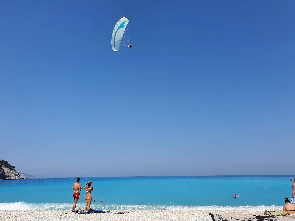 Paragliding on Myrtos beach in Kefalonia