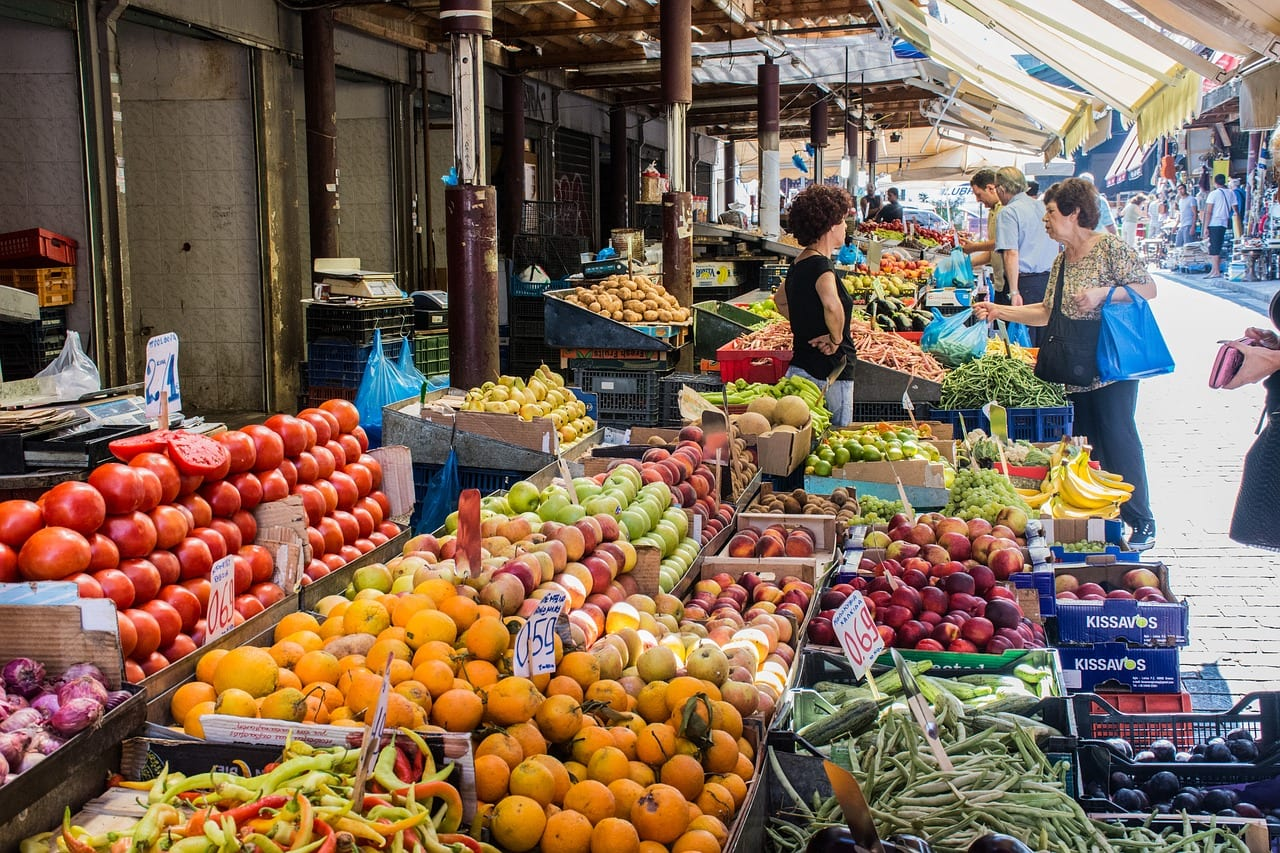 Athens market is a great place to see colourful and fresh fruit and veg