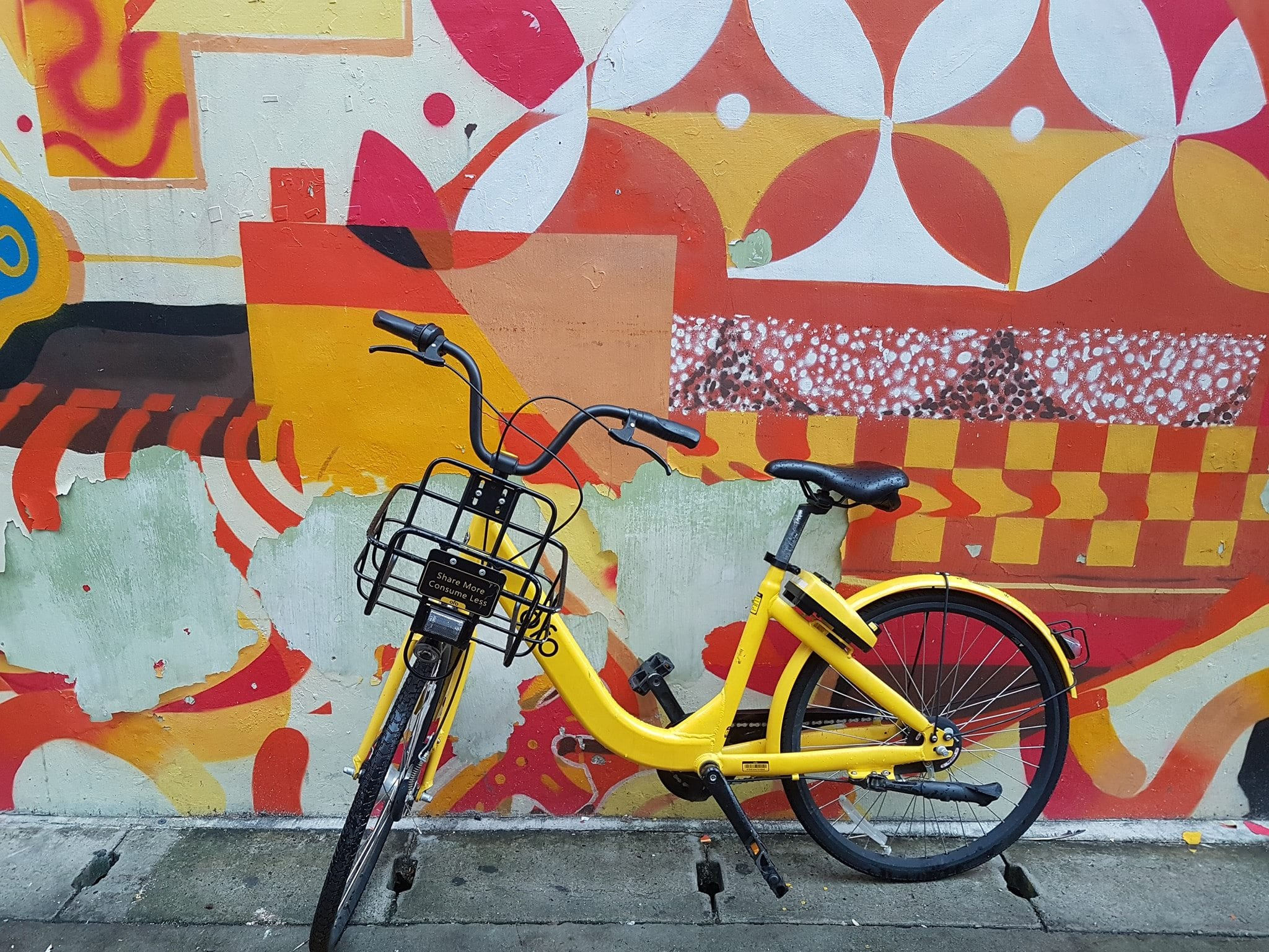 A bright yellow bike from a bike share scheme in SIngapore