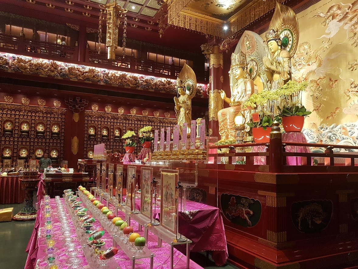 Inside the Buddha Tooth Relic Museum in Chinatown, Singapore