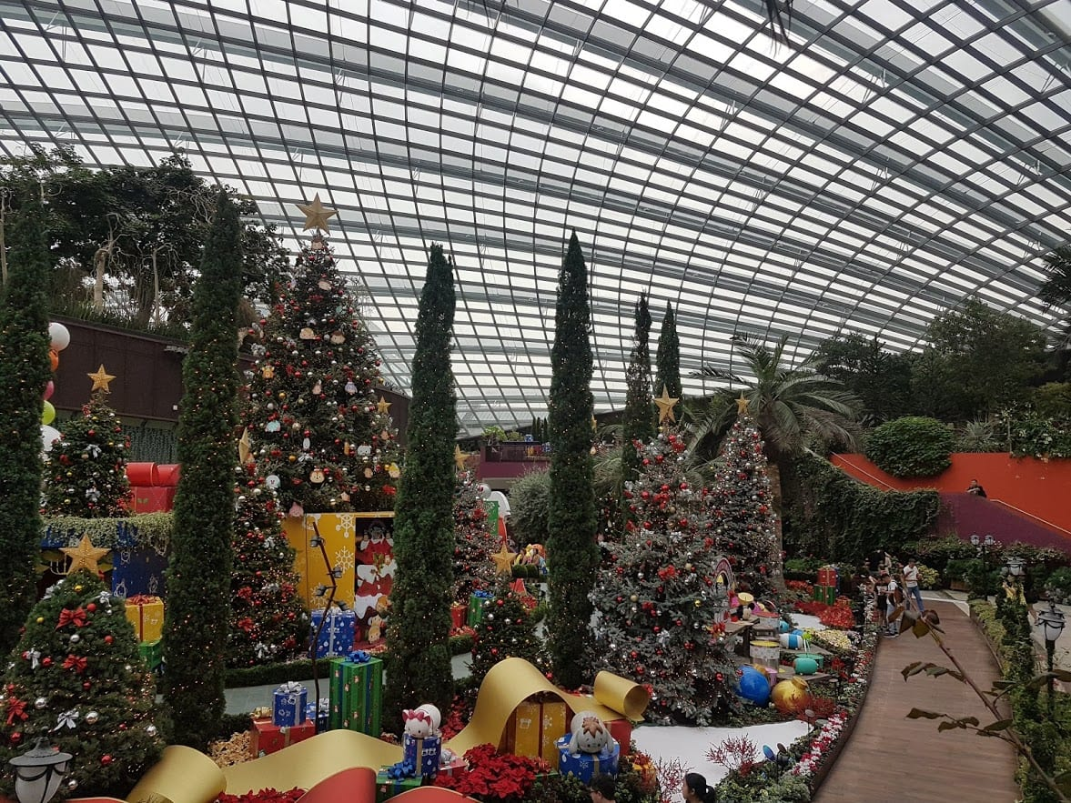 The giant Flower Dome at the Gardens by the Bay in Singapore had a Christmas vibe when we visited in November.