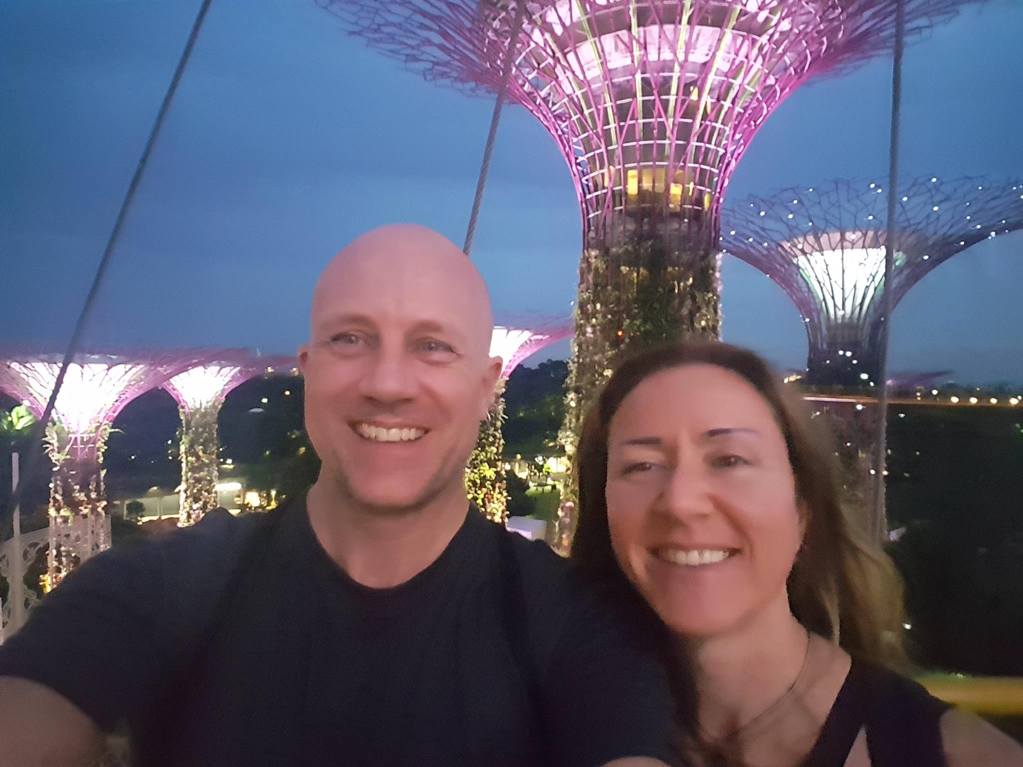 Our cheesy selfie taken on the walkway between the Singapore supertrees at Gardens by theBay