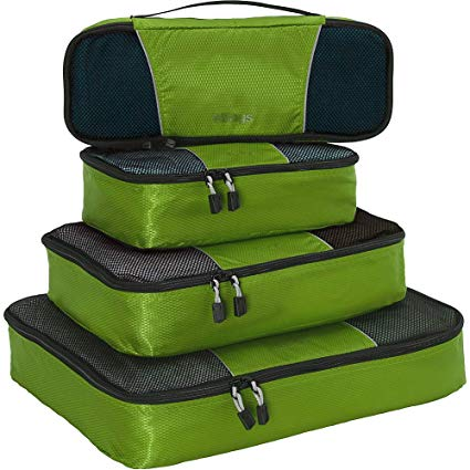eBags Packing Cubes for Travel - 4pc Classic Plus Set - (Grasshopper)