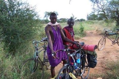 Bushmen cycling through Africa