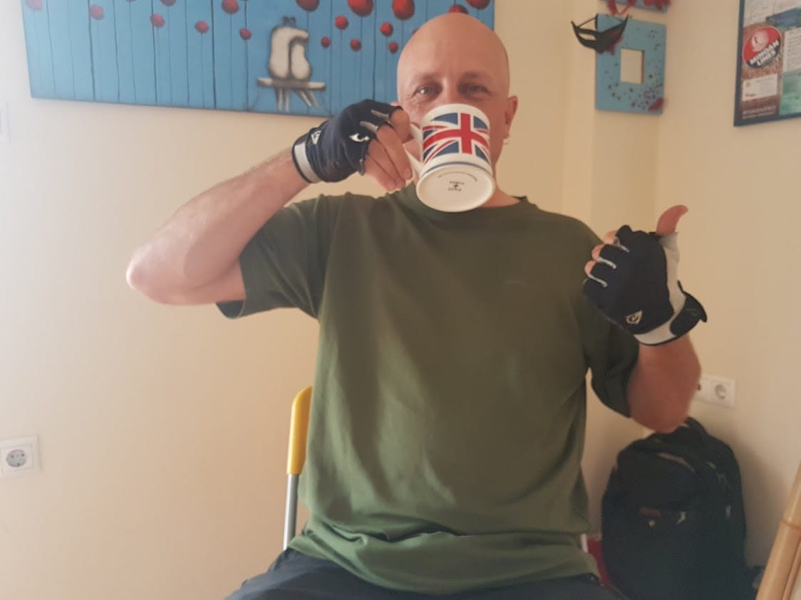 Dave drinking from a Union Jack cup