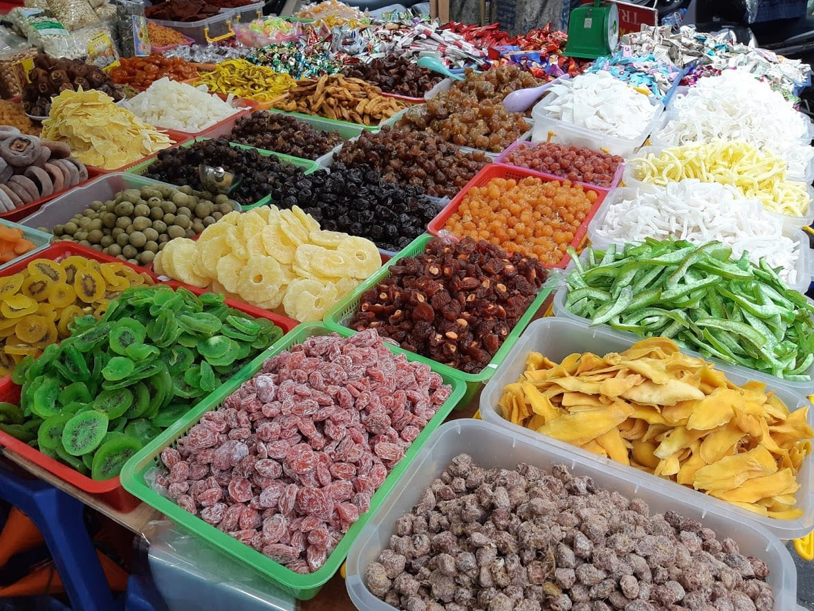 Dried fruit being sold in Hanoi, Vietnam