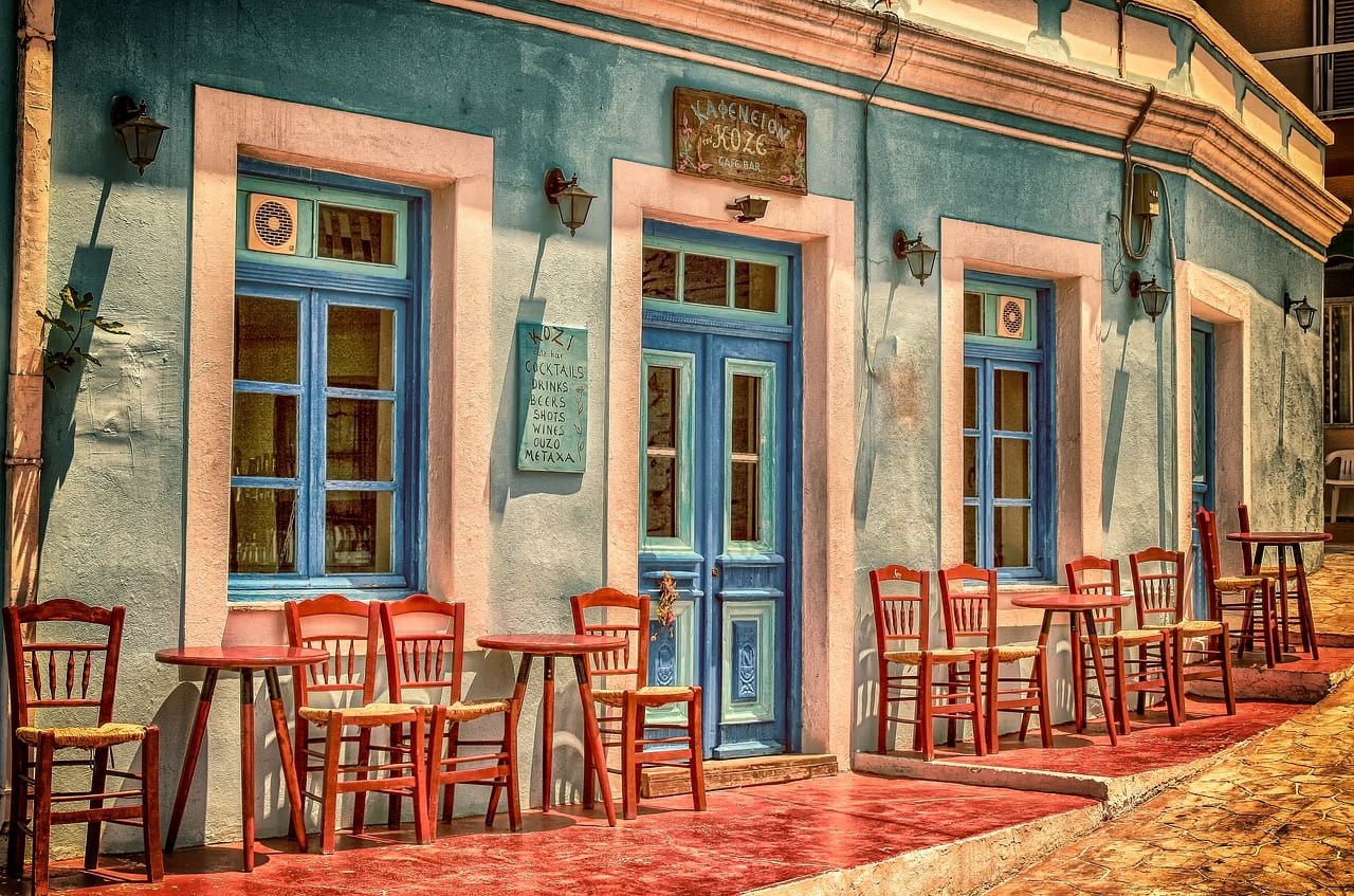 The famous Greek Kafeneio - Traditionally the older generation drink Greek coffee in cafes like this all over Greece
