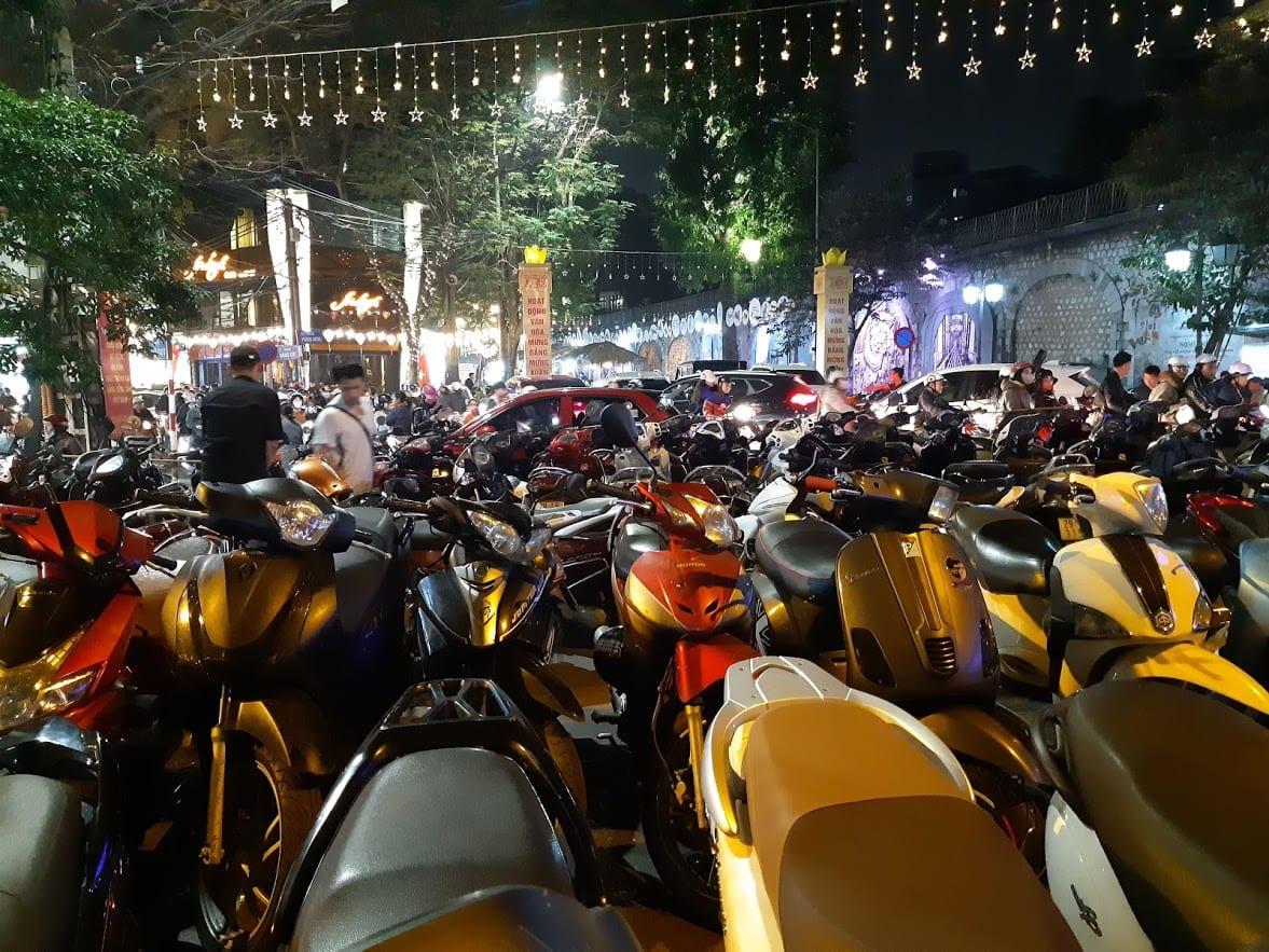 Parked mopeds in Hanoi