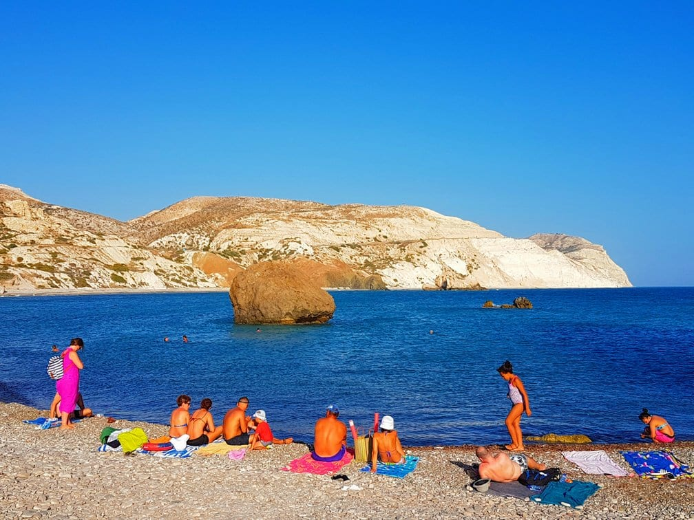 Relaxing on a beach in Paphos, Cyprus