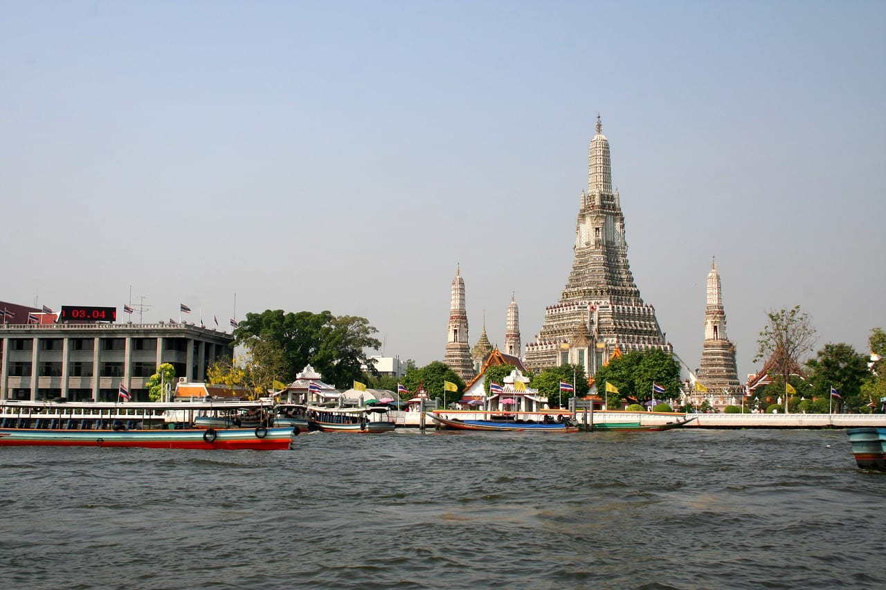 Crossing the river to see Wat Arun temple in Bangkok, Thailand.
