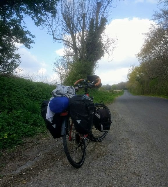 The fully loaded bicycle James Thomas will use on his bike tour in the UK