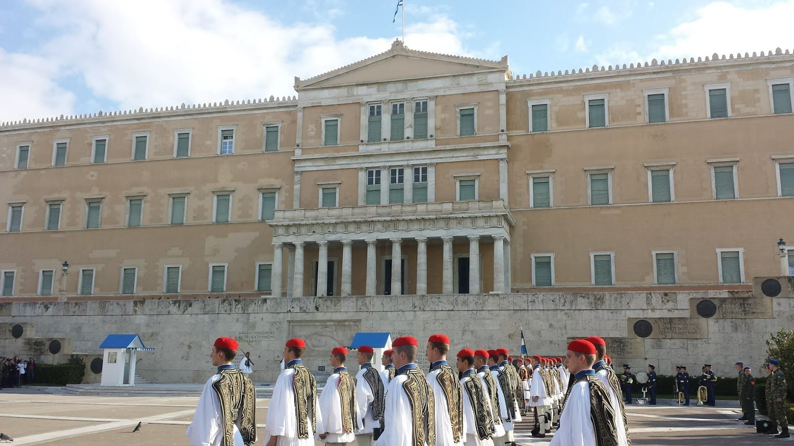 The Evzone in front of the Parliament building in Athens