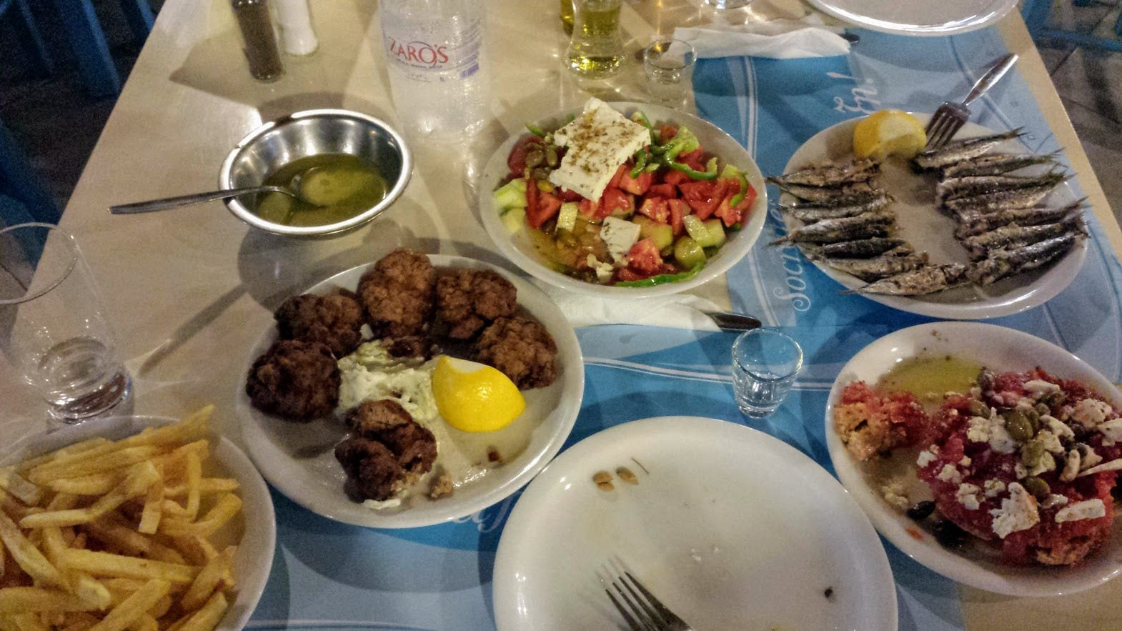 An evening meal in Heraklion Crete.