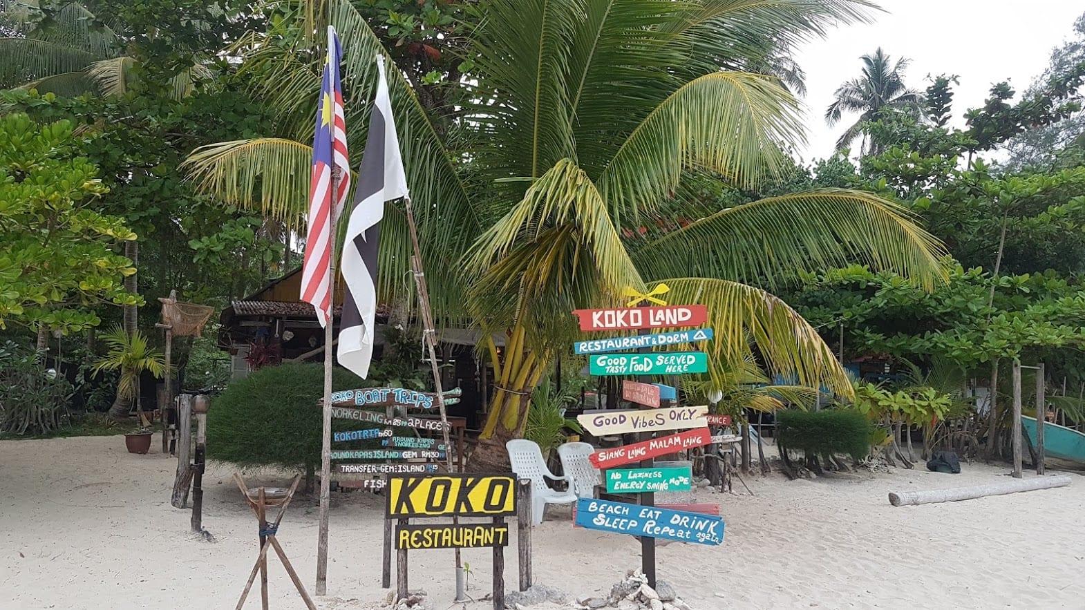 Koko restaurant on Kapas Island Malaysia