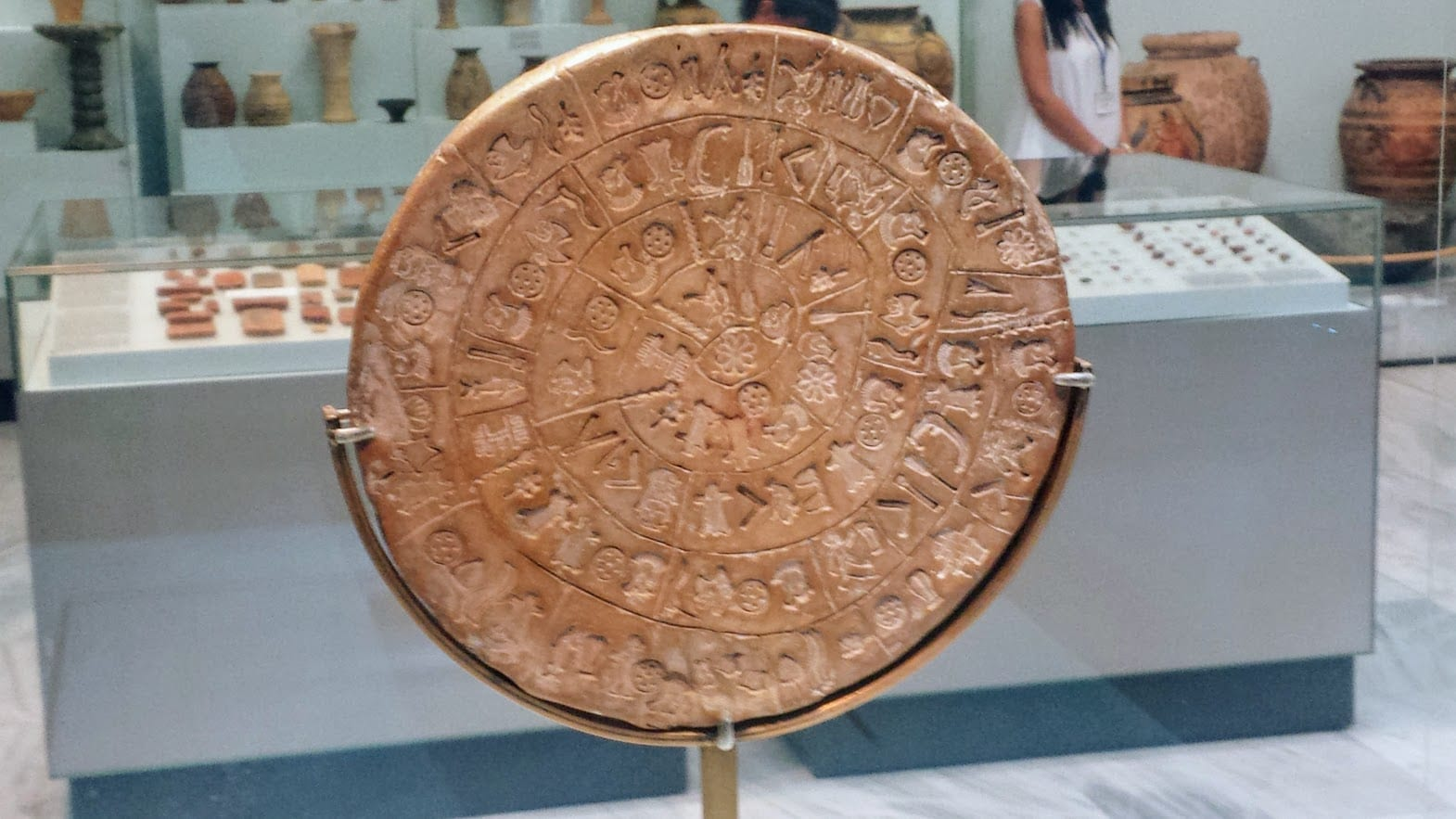 The Phaistos Disc in the Archaeological Museum in Heraklion, Crete.
