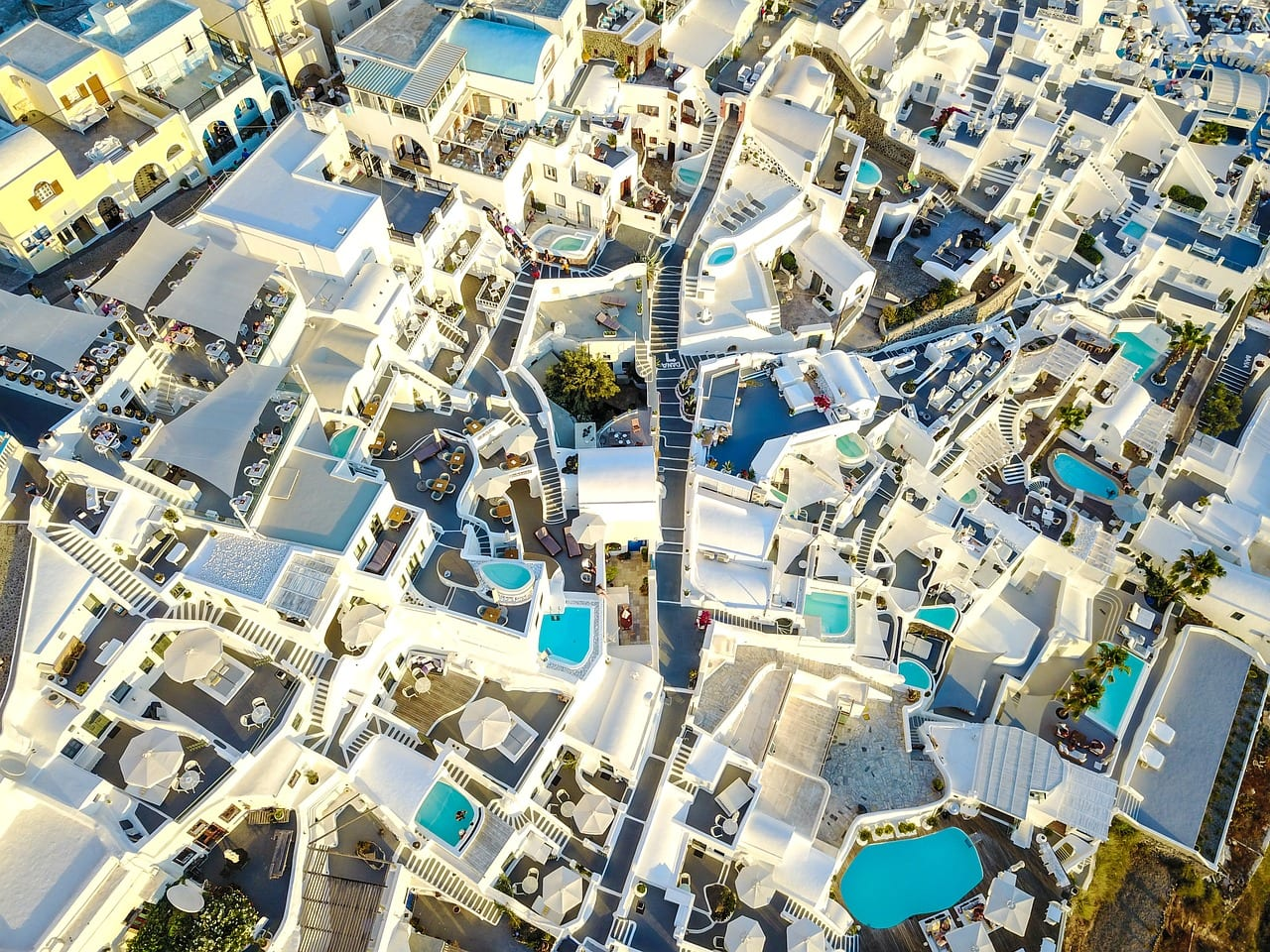 A birds eye view of Santorini