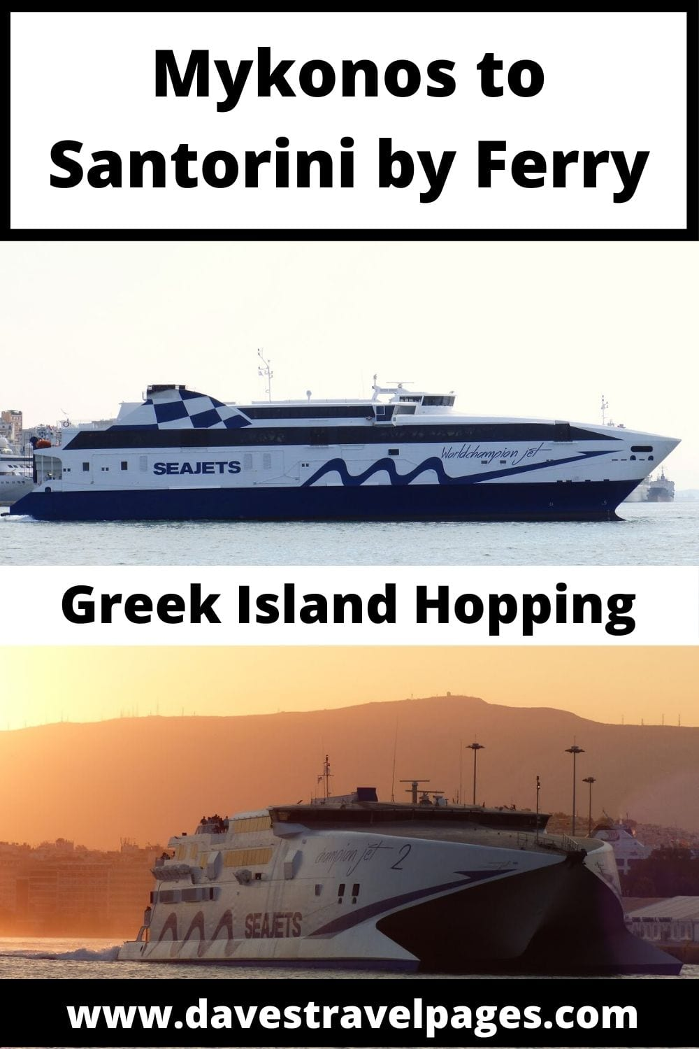 A complete guide on how to get from Mykonos to Santorini in Greece.