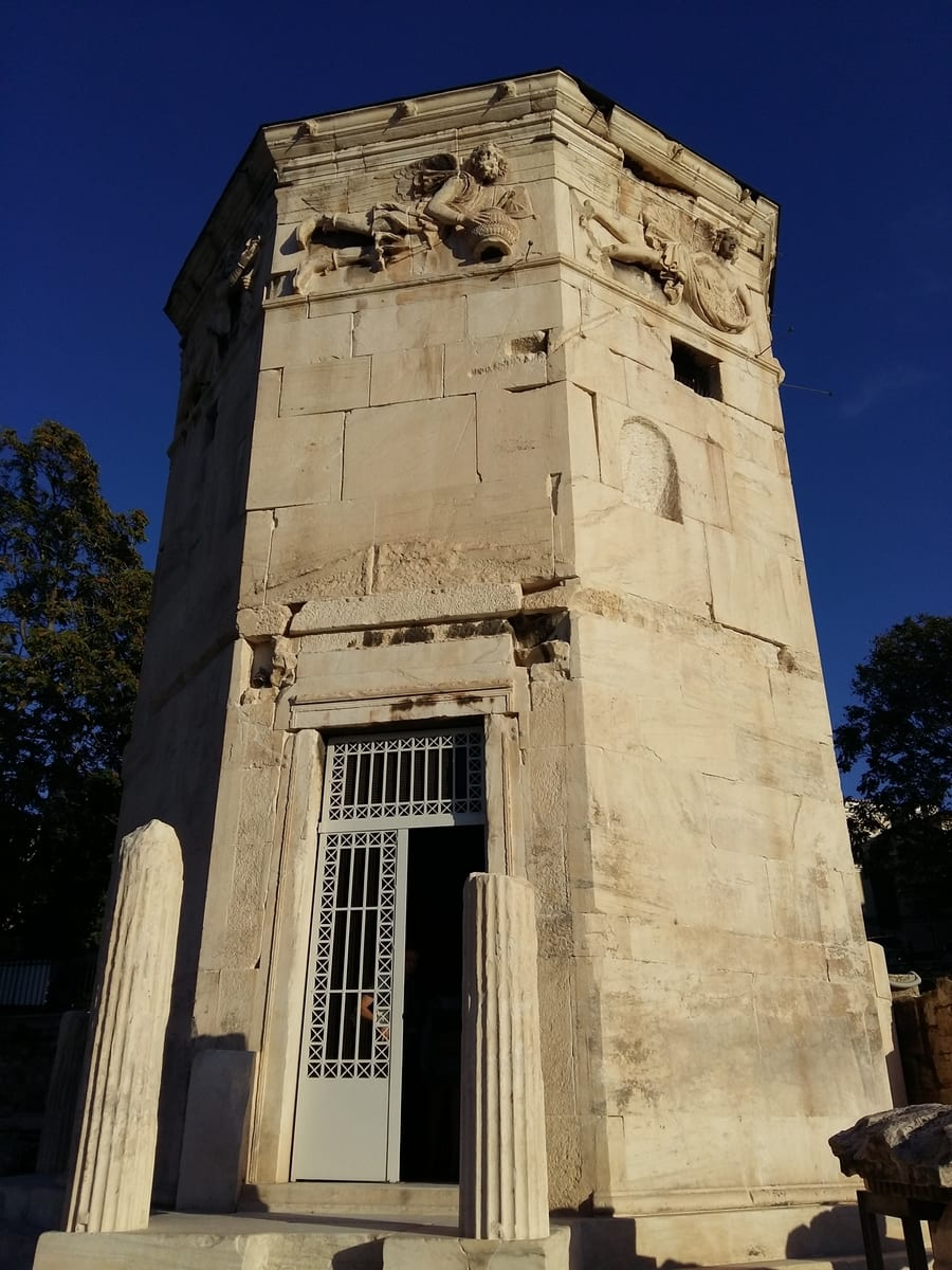 The Tower of the winds is situated in the Roman Agora in Athens