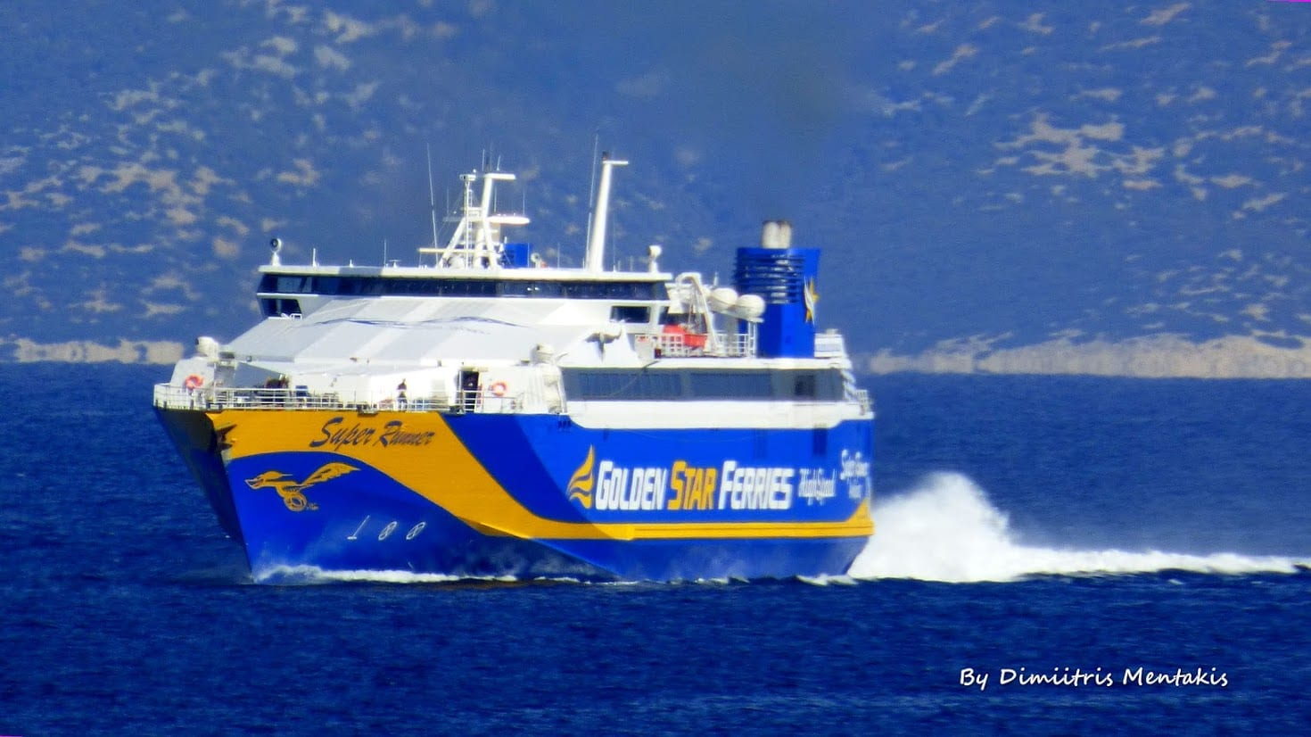 Superrunner ferry takes passengers from Mykonos to Santorini