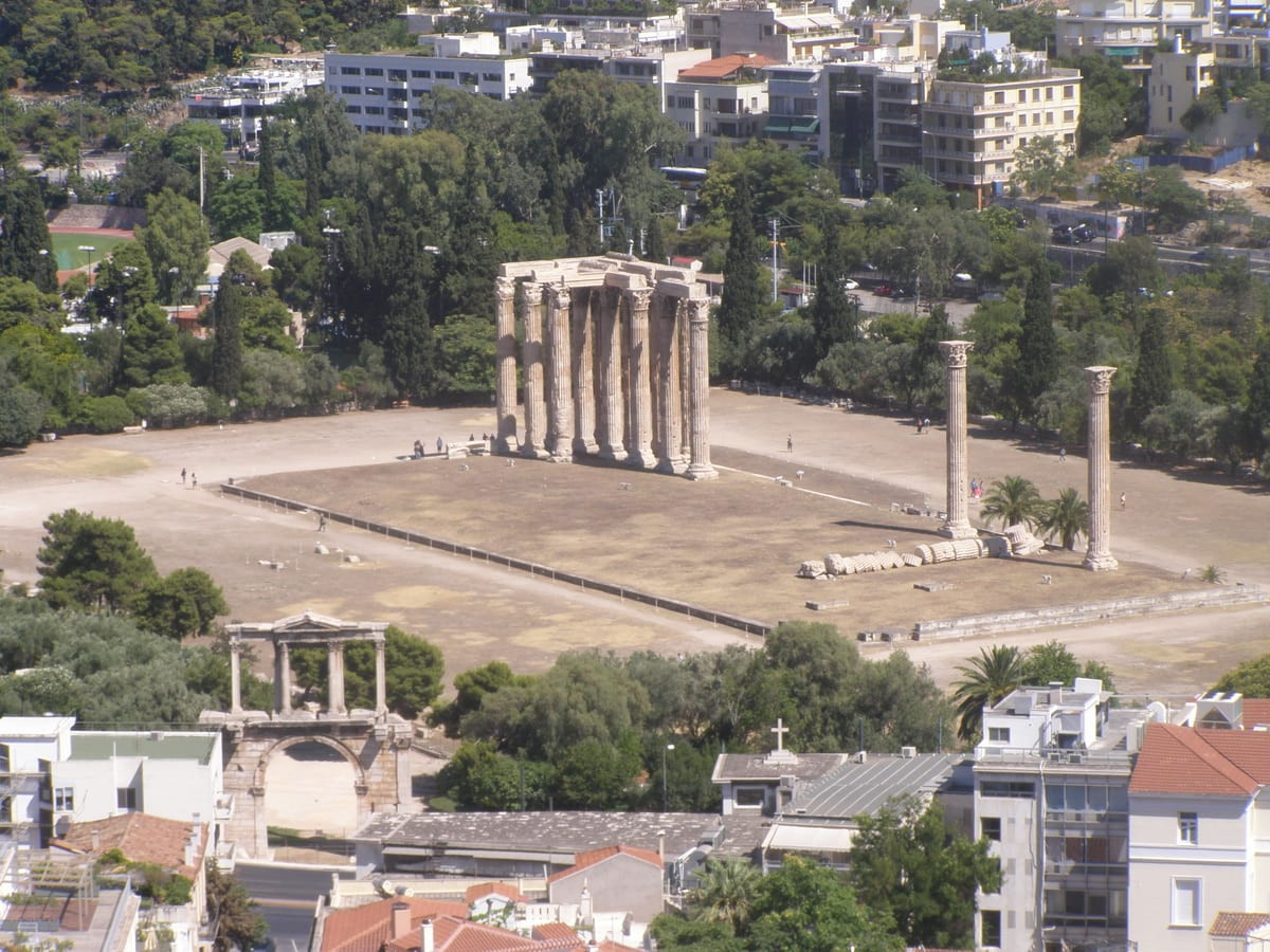 Visit the imposing Temple of Zeus in Athens during the winter