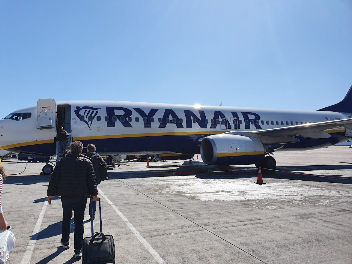 Boarding a Ryanair flight at Athens Airport, Greece