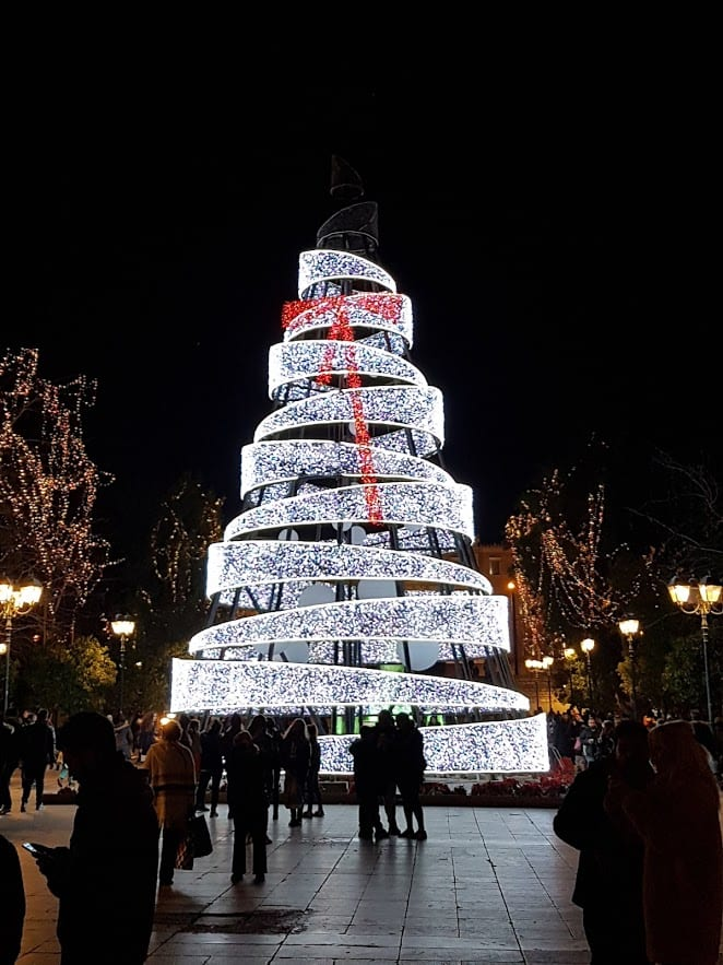 The Christmas tree in Syntagma Square in Athens Greece
