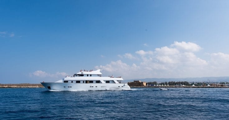 Paphos Boat Trips: 6-Hour Elite Adults-Only Cruise with Catering