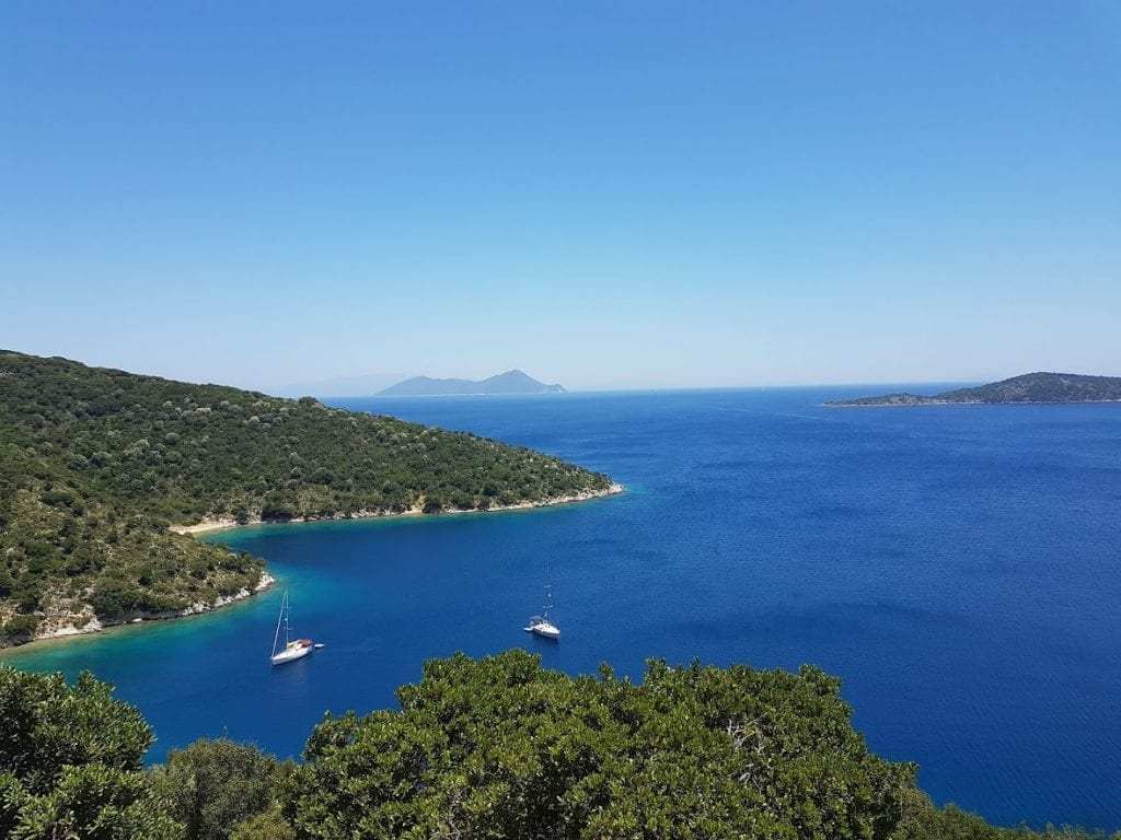 A view out over Ithaca island in Greece