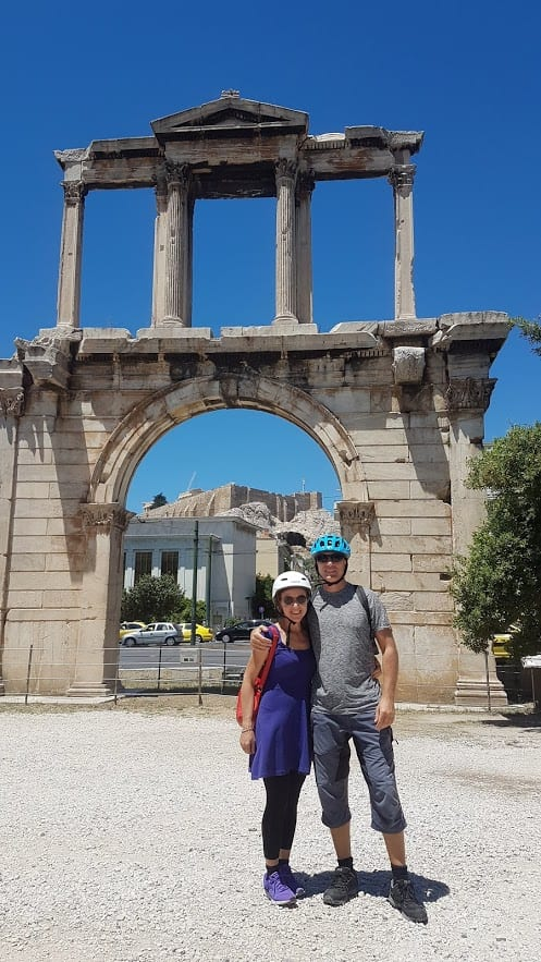 Dave and Vanessa on a bike tour in Athens