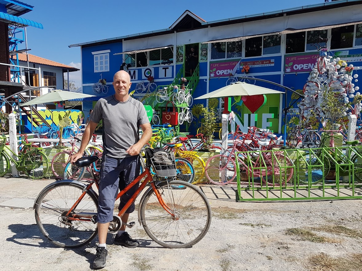 Dave at the colourful cafe in Inle Lake