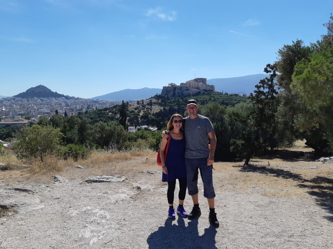 Dave and Vanessa outside the Acropolis