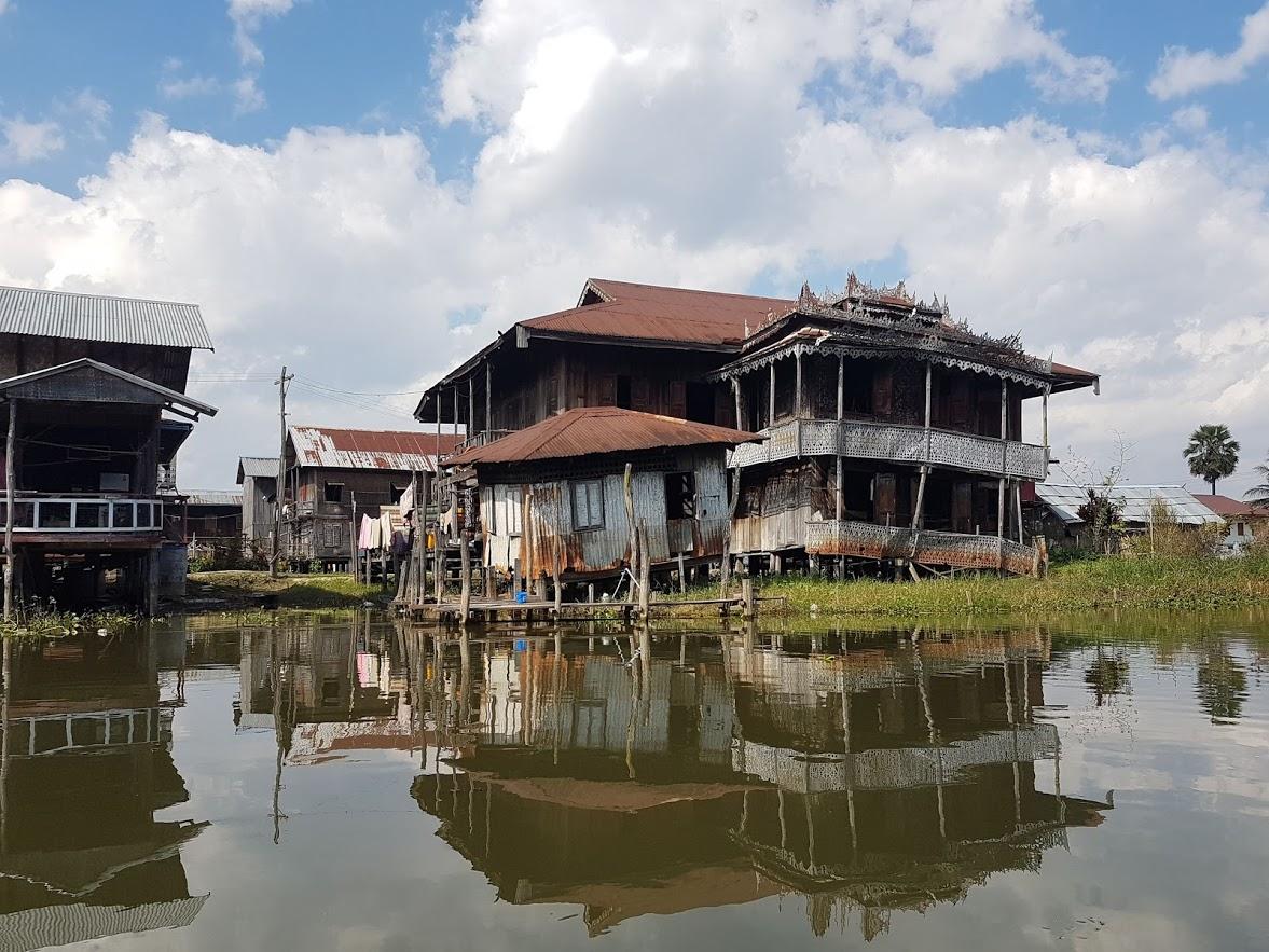 A ramshackle house on Inle Lake in Myanmar