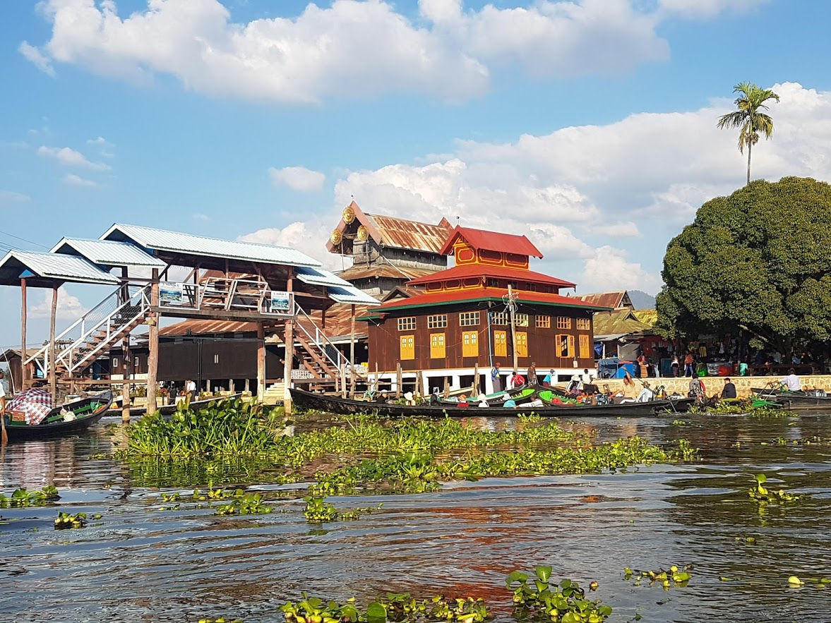 A temple sitting at Inle Lake