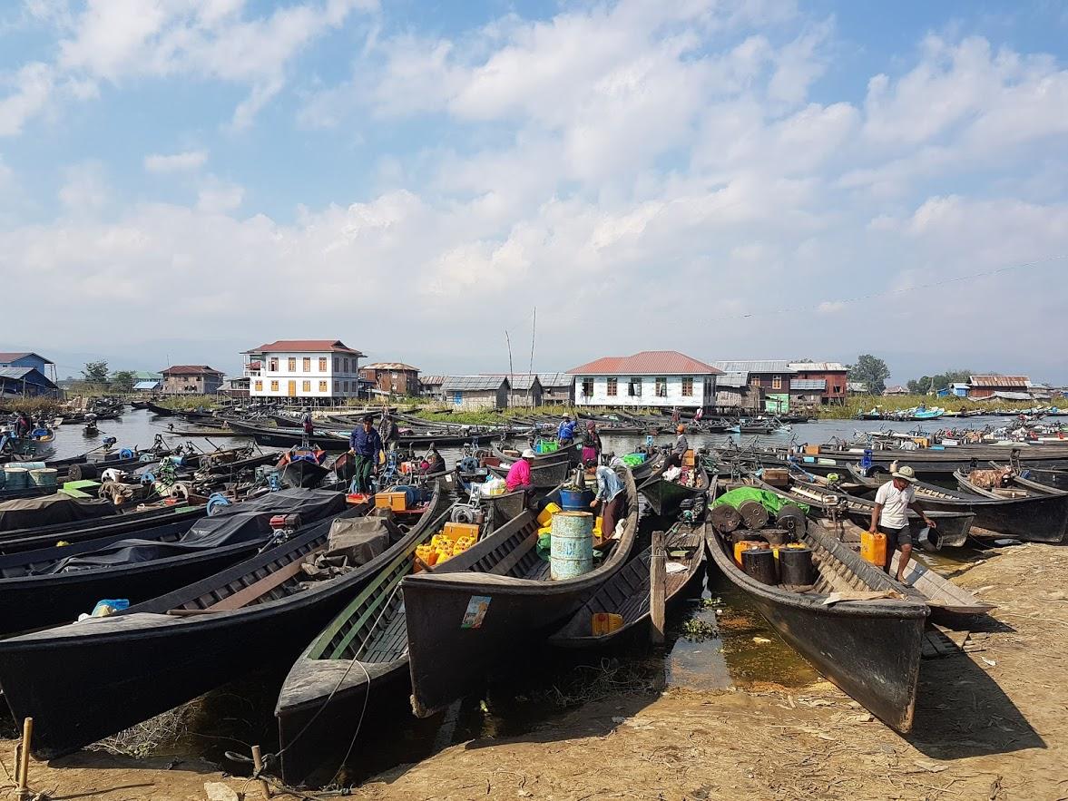 Longtail boats at Inle lake